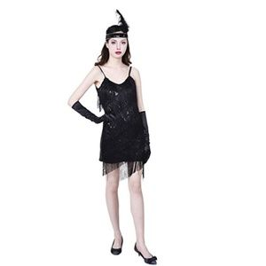 Black Flapper Dress Set